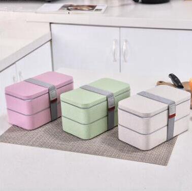 밀 밀짚 점심 상자를 두 번 휴대용 환경 보호 학생 도시락 상자 전자 레인지 난방 상자 식품 보관 Containeres LXL1265-A