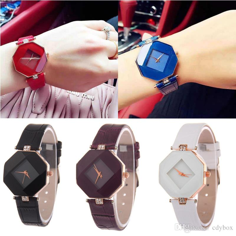 Wholesale 5 Styles Women Leather Watch Diamond Analog Quartz Dress WristWatch Girls Fashion Accessories Watch Gifts
