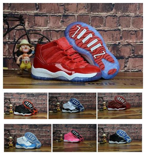 Bebê crianças 11 11s Shoes Bred Ginásio Rosa Concord Space Jam Legend Vermelho Azul 11 Sapatos Sapatilhas presente para os meninos meninas com caixa
