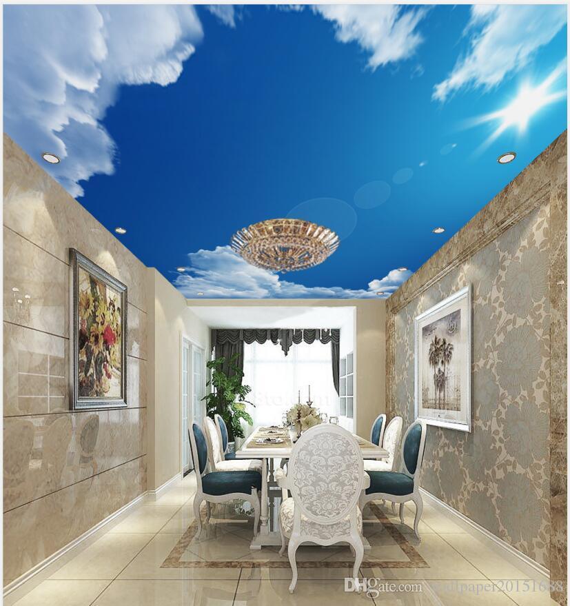 Blue Sky White Clouds Sun Ceiling Mural Photo Wallpaper Living
