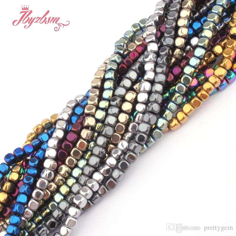 """3mm Cube Suqare Metallic Coated Hematite No Magnetic Natural Stone Beads For Necklace Bracelets Jewelry Making 15"""" Free Shipping"""