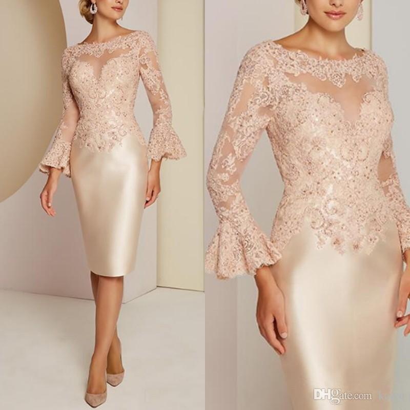 Klasik Dantel anne Gelin Elbiseler Uzun Kollu Boncuk Düğün Konuk Elbise Özel Kadın Abiye giyim Artı Boyutu Giymek
