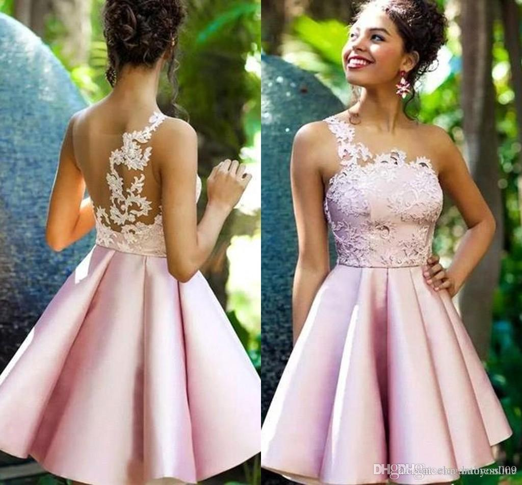 Sexy Sheer Neck Pink Homecoming Cocktail Dresses Knee Length A Line Appliques Arabic Short Prom Gowns Party Pageant Wear Cocktail Party Gown
