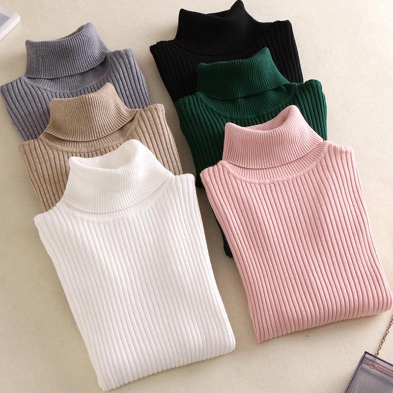A la venta 2019 del resorte ocasional hecha punto cuello alto suéter con cuello suave puente delgado de la manera Femme Elasticidad Jerseys