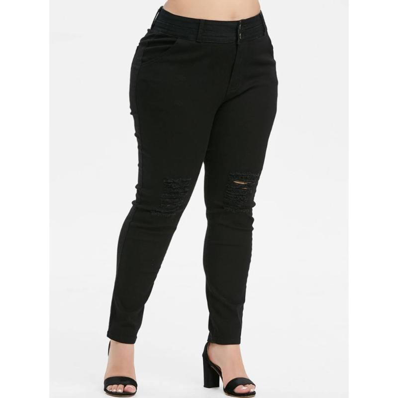 ROSEGAL Plus Size High Rise Skinny Jeans Ripped pour les femmes Destroyed Pantalons trou Crayon 2019 Fermeture éclair de pantalon serré couleur solide