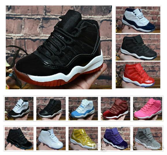 Erkek Çocuklar Concord 45 11 11 s XI Gençlik Balo Gece Spor Kırmızı Kap ve kıyafeti PRM Heiress Chicago Jams Basketbol Ayakkabıları Eğitmenler Sneakers 28-35 Getirdi
