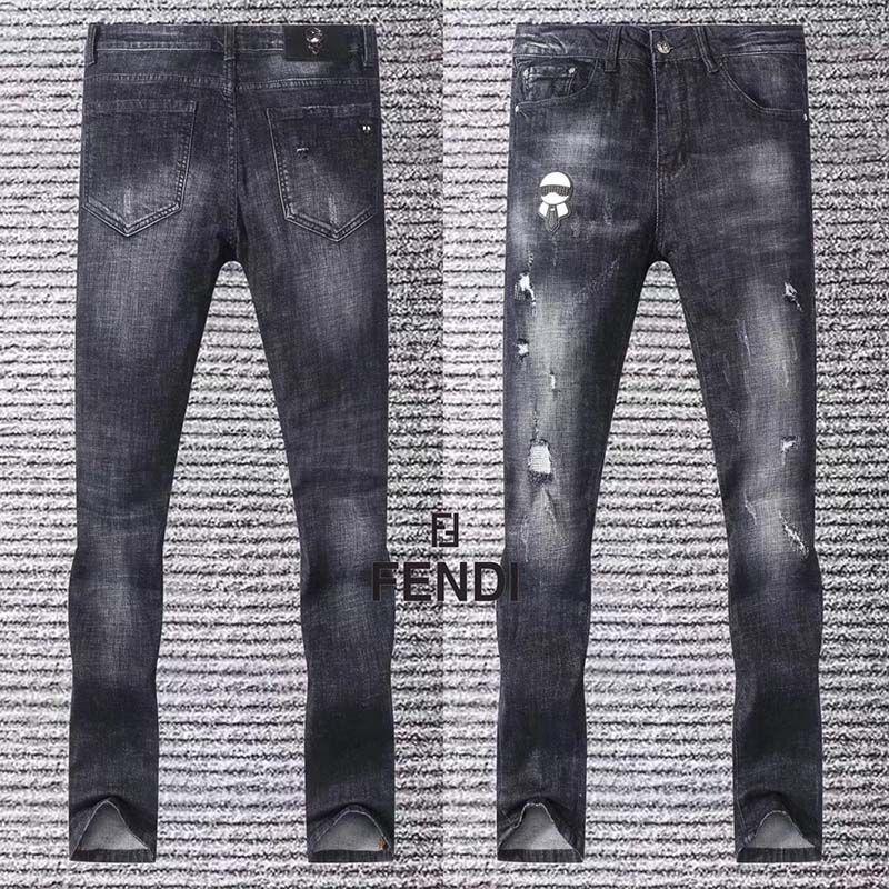 2019 de estilo europeo y americano negro bordado negro pantalones vaqueros delgados de los hombres de los pies de marea pantalones de mezclilla hombres ocasionales de los pantalones negros