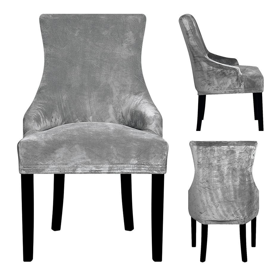 المخملية الحقيقي نسيج المنحدرة الذراع غطاء كرسي كبير الحجم XL حجم الجناح bakc الملك خلف كرسي يغطي يغطي مقعد للفندق حزب ولائم