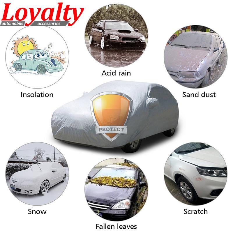 Loyauté auto-Covers pour Sedan Intérieur Extérieur pleine voiture Couverture Protection UV Résistant soleil neige poussière Taille S M L XL XXL Covers voiture