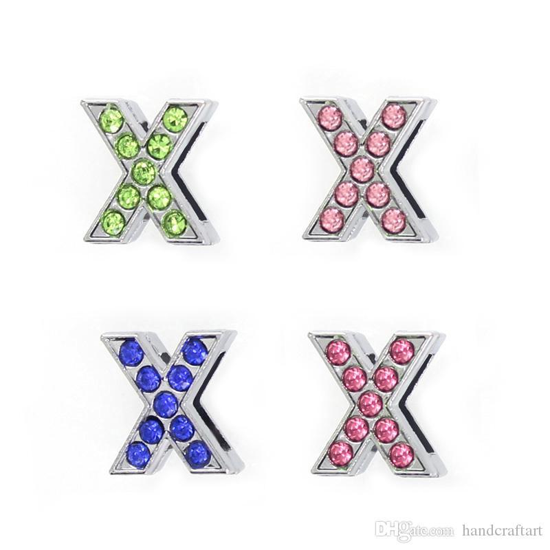 """Lettere di scorrimento strass colore 8mm U-Z può scegliere ogni lettere """"(20 pezzi / lotto) Fit braccialetto braccialetto fai da te LSSL028"""