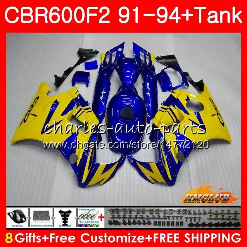 Honda CBR 600F2 CBR600FS CBR 600 FS F2 91 92 93 94 40HC.26 600cc CBR600 F2 CBR600F2 1991 1992 1993 1994 Fairing Mavi sarı için Gövde + tank