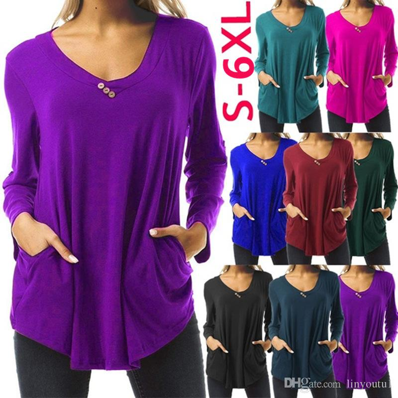 Womens Long Short Sleeve Casual Round Neck Loose Tunic Top T-Shirt spring summer autumn winter t shirt drop shipping