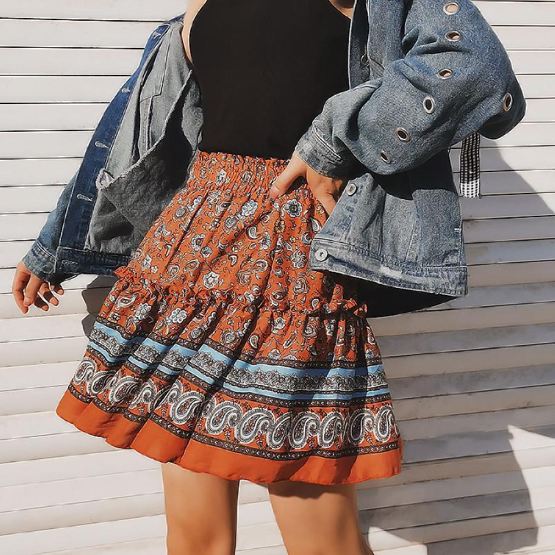 Skirts Ethnic Bohemian Floral Printed Mini Skirt Elastic Waist Empire Tiered Ruffle Women Pleated A-line Casual Beach Summer