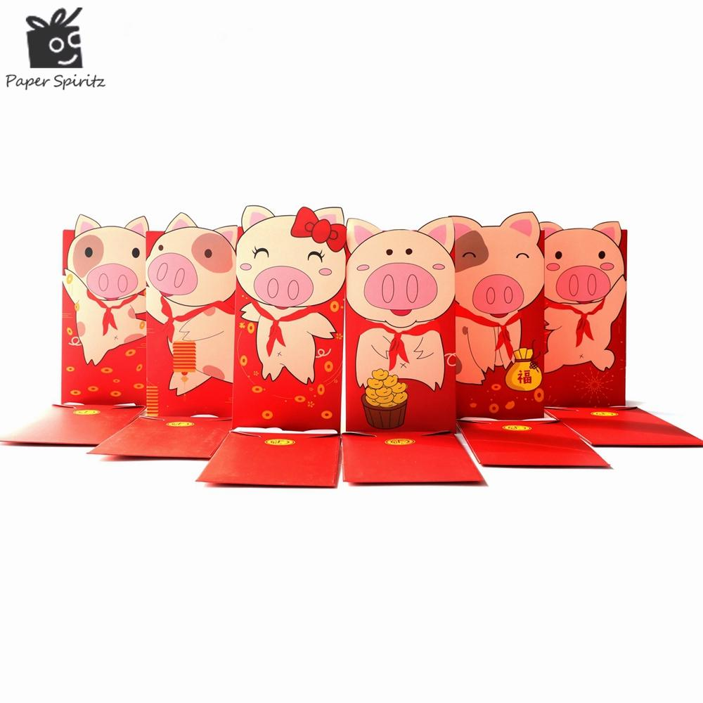Paper Spiritz 2019 New Year Pig Red Paper Envelope for Chinese Spring Festival Red Packet Money Gifts for Baby Wedding 6pcs/lot