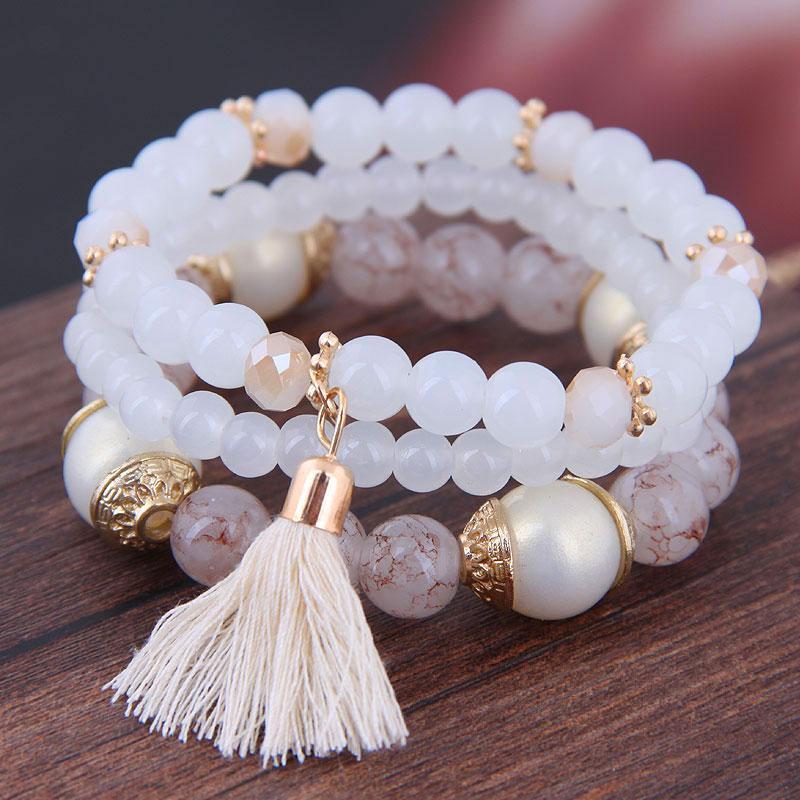2019 Bohemian 3pcs / Set Quasten-Charme-Anhänger-Korn-Armbänder für Frauen Simulierte Perlen Schmuck Damen Armband Set Boho
