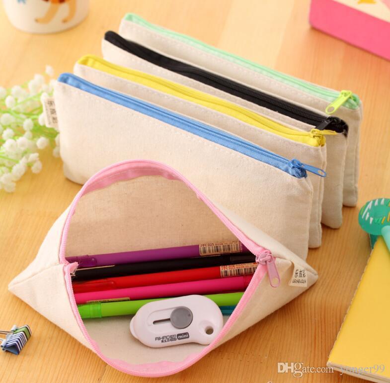 Белый холст пустой простой молния карандаш ручка сумки канцелярские дела сцепления организатор сумка подарок 20.5*8.5 см DIY сумка для хранения 100 шт. Оптовая DHL