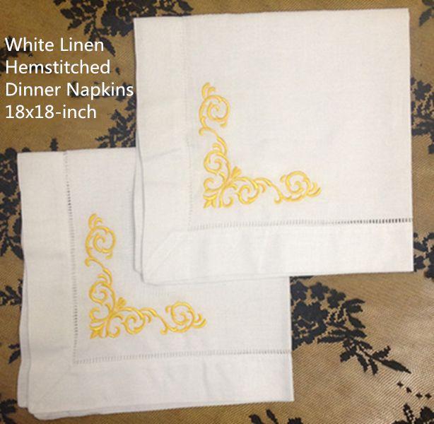 Conjunto de 12 textiles para el hogar Cena servilletas blancas vainica Ropa de mesa con servilleta de color floral bordado té servilletas 18x18 pulgadas