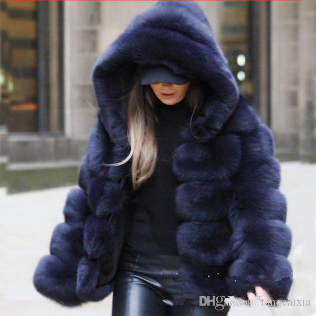 Fox mulheres casaco de pele do inverno jaqueta grossa pele casaco de pele de raposa casaco de inverno manga longa com capuz
