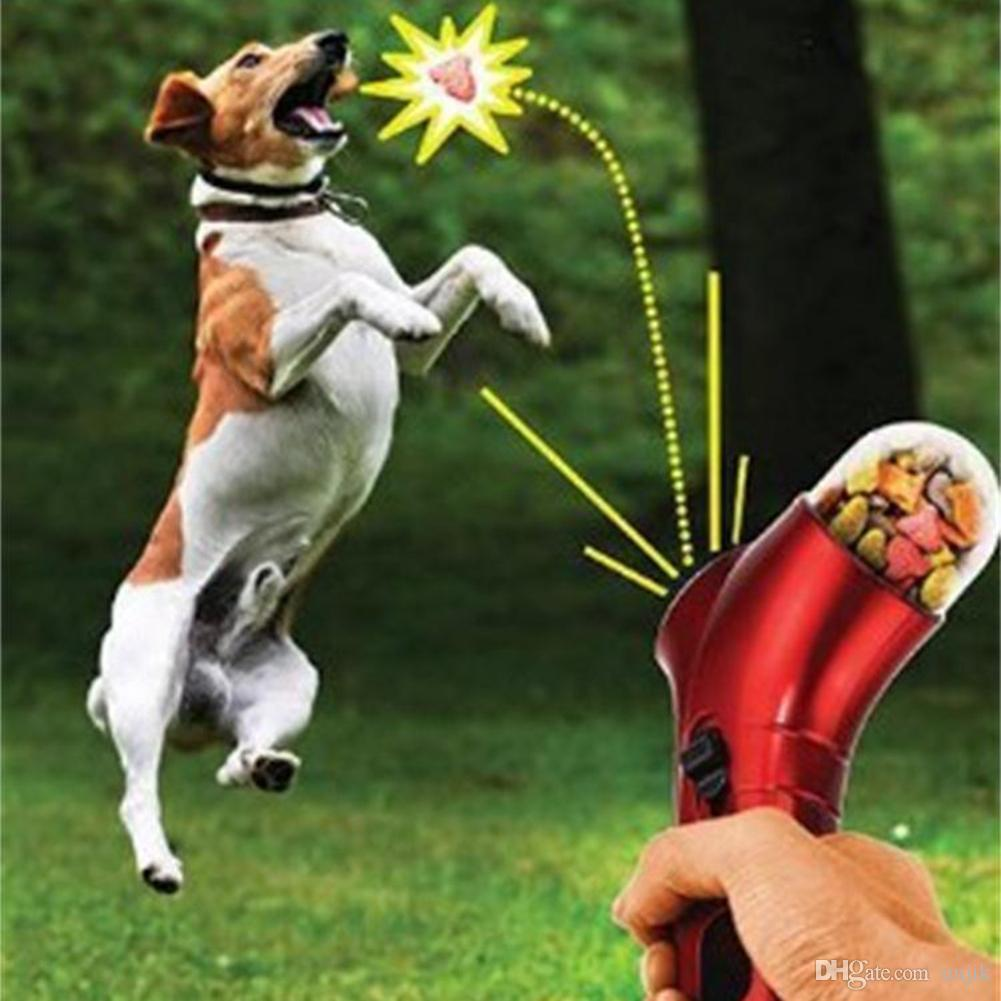 Hundesnack Catapult Launcher Pet Spielzeug Hund Katze Treat Launcher Snack Food Feeder Catapult Pet Interaktives Trainingsgerät