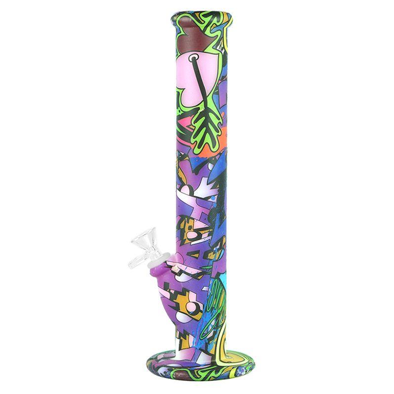 8 cores! Brilham no escuro 14 '' linear bong Inquebrável Bongos Cachimbo de silicone cachimbos de água com tigela de vidro grosso