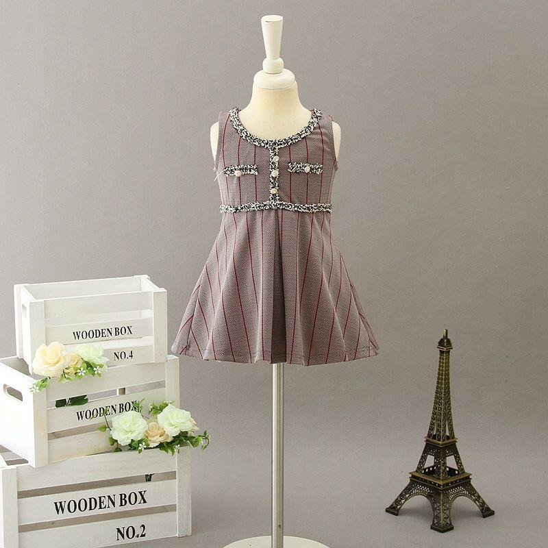 Designer Girls Dresses 2019 Autunno Bambini Plaid Pearl Vest Dress Bambini nappa Collare Stripe Princess Dress Girl Roffle Sundress Y2811