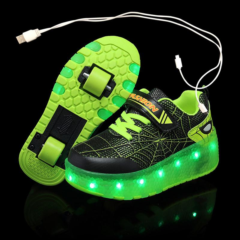 Two Green LED usb charging roller shoes glowing light up luminous sneakers with wheels kids rollers skate shoes for boy girls