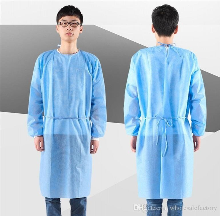 DHL Ship US Stock Waterproof Isolation Clothes Hazmat Suit Cuff Frenulum Protective Clothing Antistaic Disposable Gowns Protective Suit