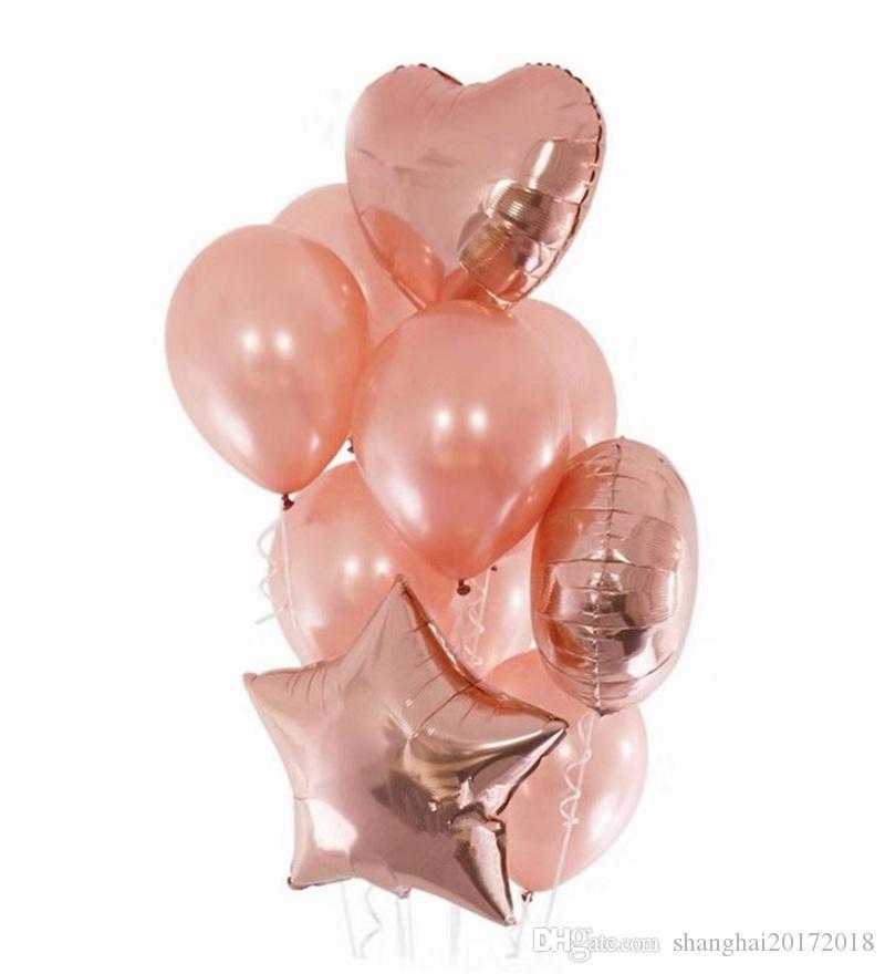 4 adet 18 inç Alüminyum filmi Folyo Balloon10pcs 12 inç Lateks Balon Gül Altın Kalp Balon Şampanya Yıldız Balonlar Düğün Doğum Günü için