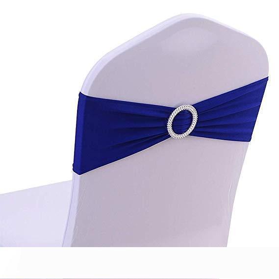 Un président Spandex Jupettes Bows Chaise Bandeaux élastiques avec boucle Curseur Jupettes Bows pour les décorations de mariage sans blanc Couvre bleu royal