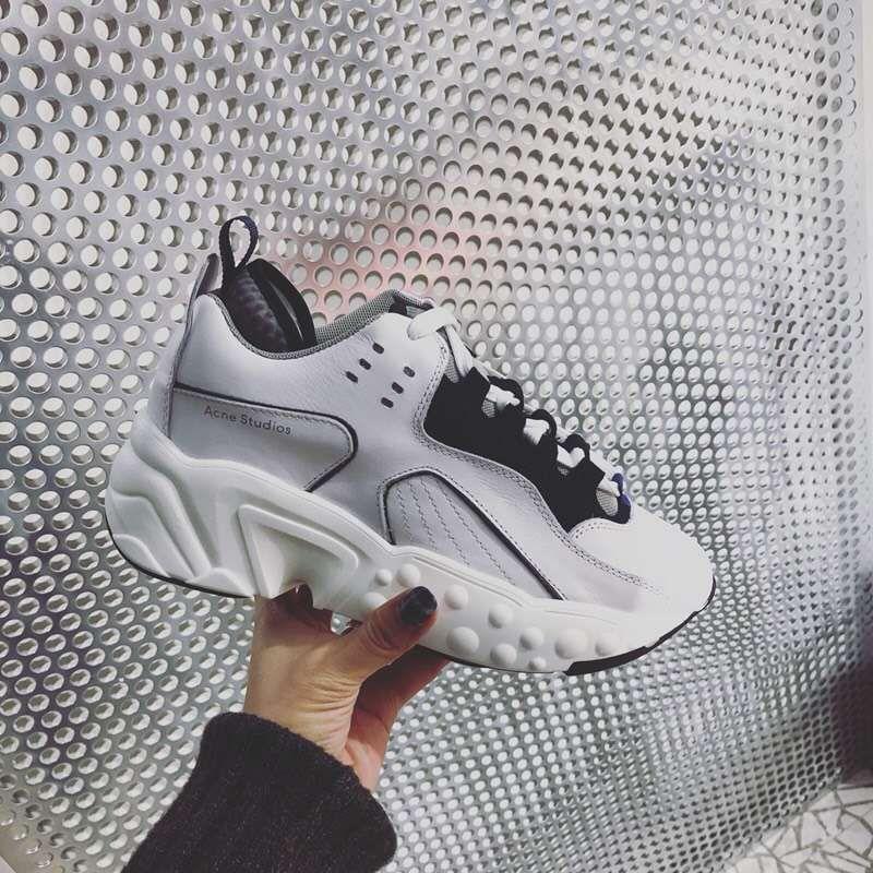 2017 Acne Manhattan Multi Daim Noir Blanc Femmes Causal Chaussures Mode Suède Chaussures Baskets