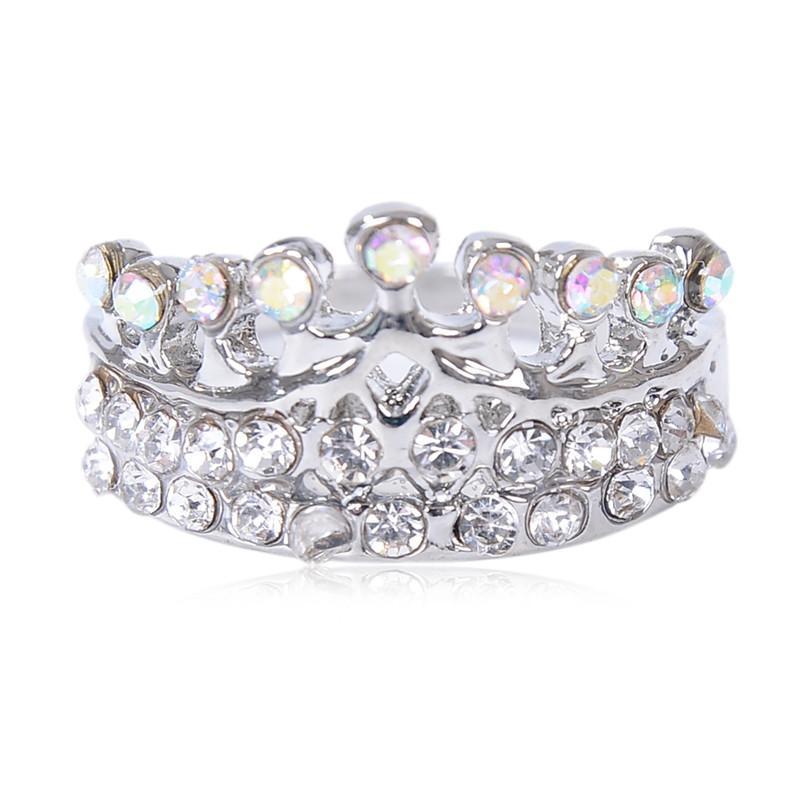 Anéis de dedo VER Mix 10pcs Rhinestone Crown Anéis Charme para mulheres e meninas Partido Atacado