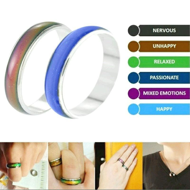 100Pcs/lot Wholesale Jewelery Bulks Mixed Change Color Silver Plated Mood Rings Temperature Emotion Feeling Rings For Women/Men