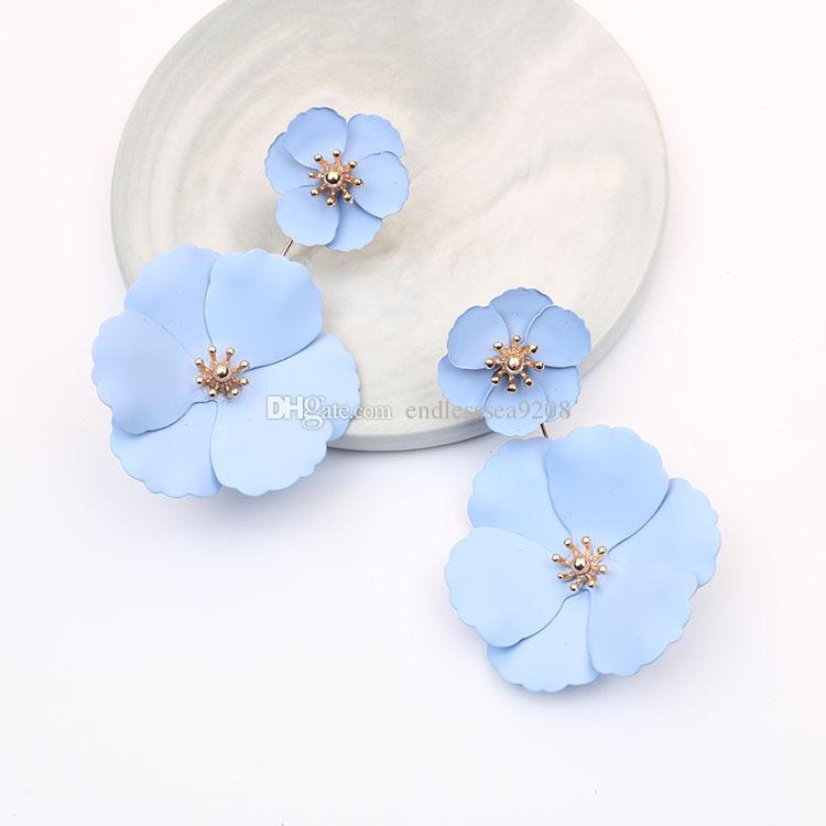 Sıcak Satış Yüksek Kalite Moda Basit Stil Renk Sprey Çiçekler Çok Katmanlı Küpe Ayrılabilir Küpe Kadınlar Charm Takı Boya