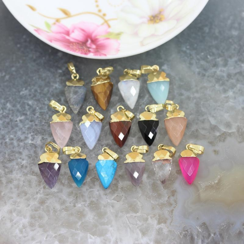 Natural Gems Arrow Charms Earring,Plated Gold Faceted Crystal Quartz Agates Labradorite Tiny Pendant Necklace Jewelry Making
