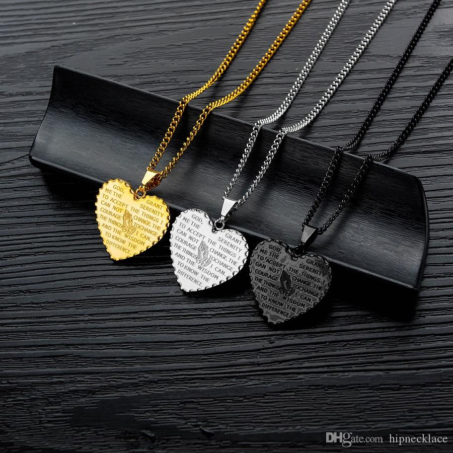Fashion Tide Men Charm Heart Prayer Hand Scripture Pendant Necklace Punk Hip Hop Jewelry Stainless Steel Chain Gold Silver Black For Men