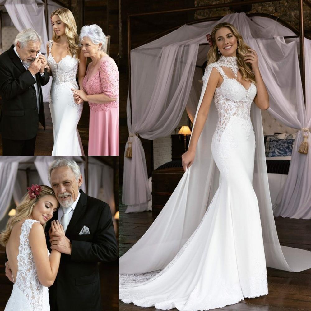 2020 della sirena da sposa veste gli abiti da sposa con l'involucro di spaghetti sexy Appliques del merletto aperto indietro vestidos da sposa taglie forti