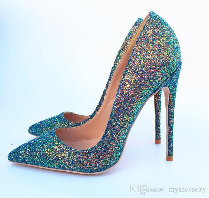 SATIŞ alt tasarımcı topuk sim 46'ya hakiki deri gelinlik ayakkabı lüks yüksek topuklu pompalar kadınları artı boyutu 33 payetli kırmızı