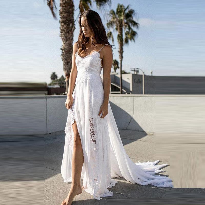 Spaghetti Straps Wedding Backless Sexy High Split Summer Beach A-line Floor Length Dress Marriage Gown For women Vestido De Noiva 2020