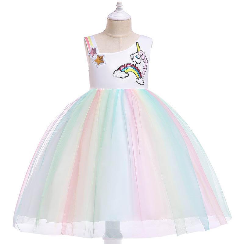 Unicorn girls dresses kids designer clothes girl Princess Dresses kids Party Dress Chiffon Dresses TUtu Formal derss children clothing A2537