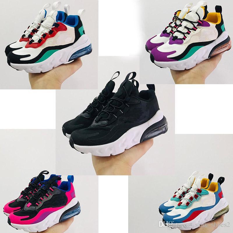 Nike air max 270 React Kid shoes 새로운 도착 (27)는 최고 품질의 BAUHAUS OPTICAL 트리플 블랙 패션 남성 통기성 스포츠 운동화 28-35을 트레이너 운동화 아이 반응
