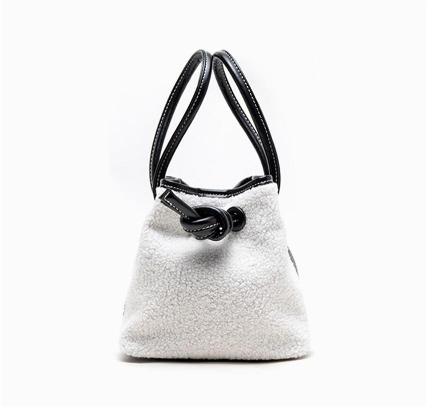 Designer-Handtasche Herbst und Winter-Entwurf Tuchdrawstring Knopf Eimer Taschen Thousand Vogel-Muster Einfache Lamb Haar Tasche Schultertasche 1