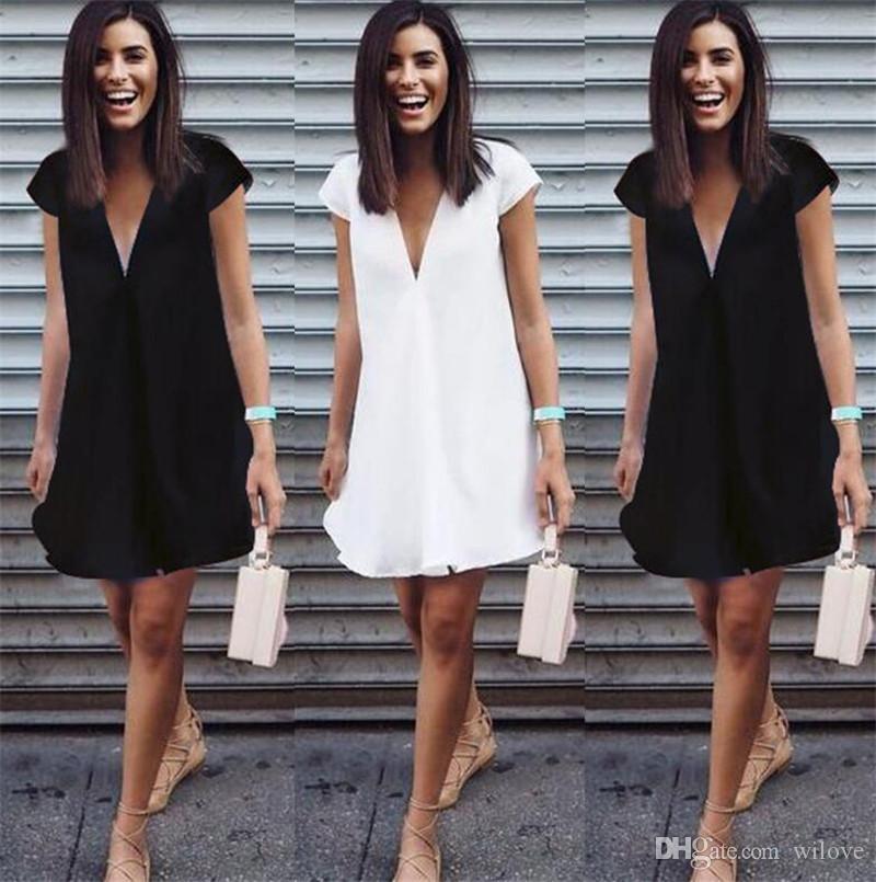 Yeni Yaz Kadın Elbiseler Seksi V Boyun 2018 Siyah Beyaz Elbise Rahat Kısa Kollu Mini Gömlek Elbise Kadınlar Için Yeni Moda Mini Elbise