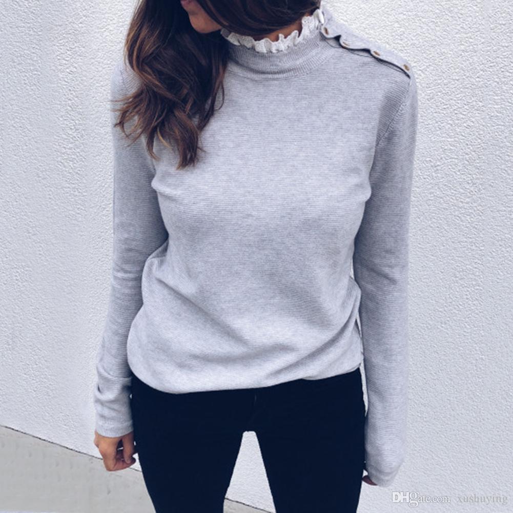 패션 단색 여성 레이스 트림 거북 목 긴 소매 T 셔츠 풀오버 탑