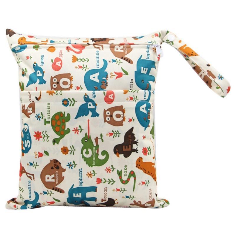 Pañales bolsas impresas bolsillo del pañal bolsa impermeable doble de la cremallera en Seco bolsas reutilizables seco mojado Bolsas Últimas 40 diseña al por mayor WZW-YW3338