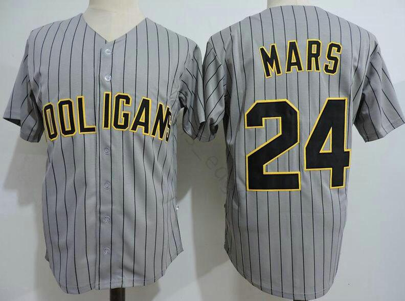 Toptan Bruno Mars 24K Hooligans Gri Beyzbol Formalar Dikişli Film Bruno Mars 24K Hooligans Beyzbol Jersey Gömlek