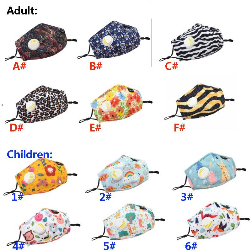 Adult Striped Leopard Striped Face Designer Masks Children Cartoon Printed Mouth Mask Outdoor Breathing Protective Mask HH9-3108