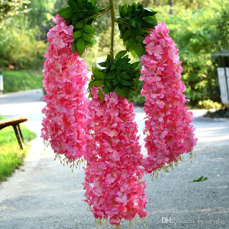 12 pieces Artificial flowers 110 cm Encrypted Red White Wedding Flower Wisteria flower decoration Vine indoor outdoor field party Prom