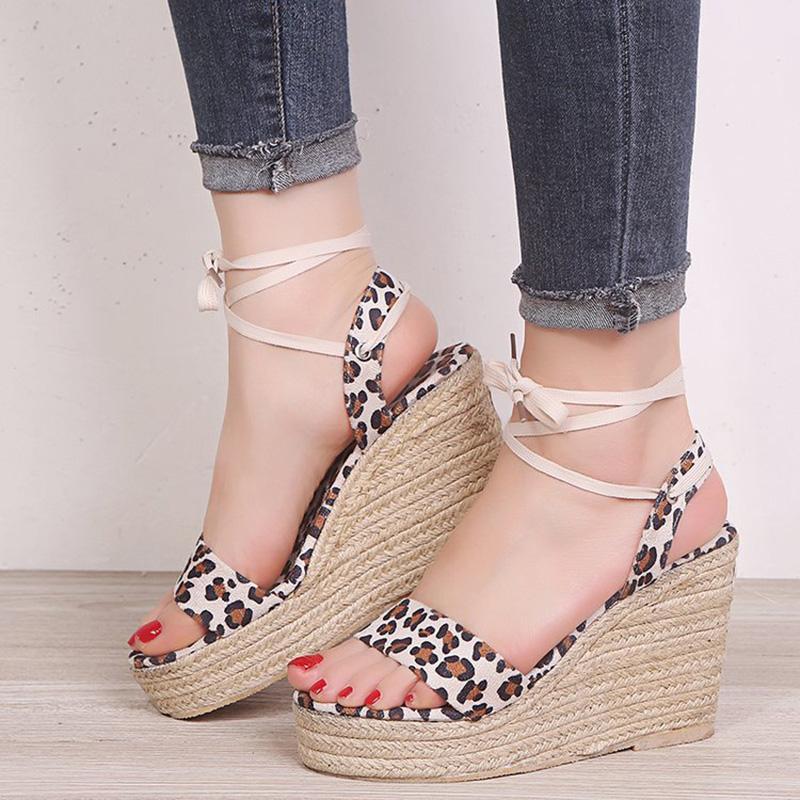Donna Leopard sandali della piattaforma femminile trasversale piena Legato dell'inarcamento della caviglia incunea delle signore della donna Scarpe Donna Comfort Footwear Plus Size