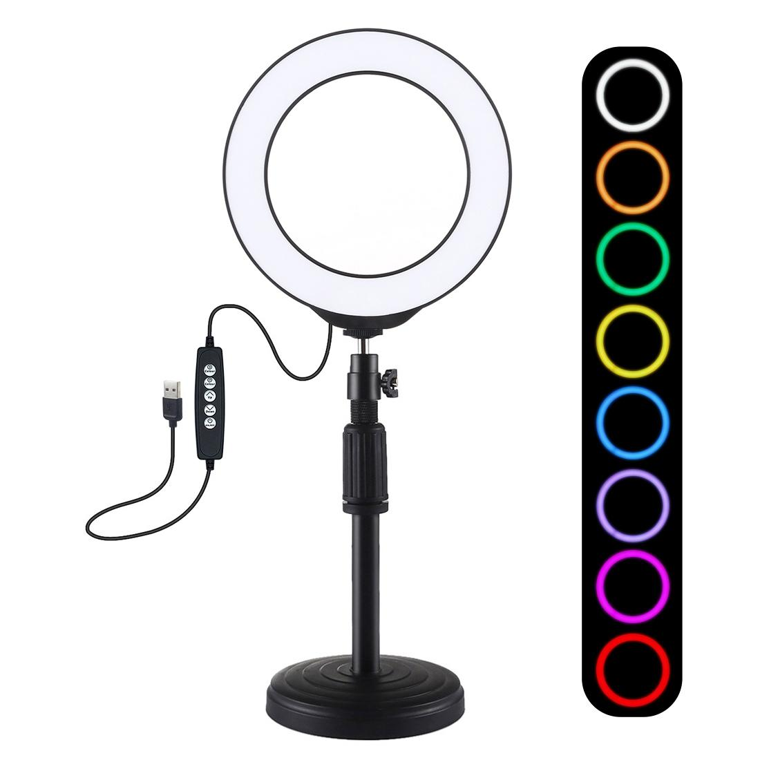 PULUZ 6.2 inch 16cm USB 10 Modes 8 Colors RGBW Dimmable LED Ring Vlogging Photography Video Lights + Round Base Desktop Mount