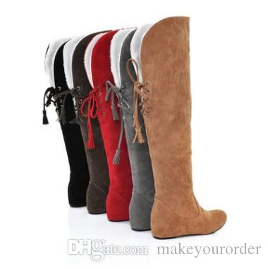 more colors winter snow shoes for women big size 34-43 inner height platform over knee boots Grind arenaceous boots 169